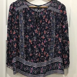 Lucky Brand boho blue floral tunic size Medium